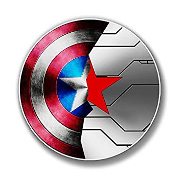 Sticker Vinyl Captain America Winter Soldier Shield Premium Quality Decals Indoor/Outdoor Use for Car Bumper Vehicle Laptop Window & Any Surfaces 4  Longest Side
