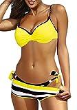 Yuson Girl Bikini para mujer, push up, bikini con aros triangular, dos piezas, atado, sexy para la playa amarillo L