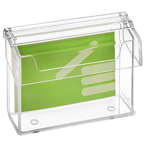 DIN A6 Prospektbox/Prospekthalter / Flyerhalter im Querformat, wetterfest, für Außen, mit Deckel, aus glasklarem Acrylglas - Zeigis®