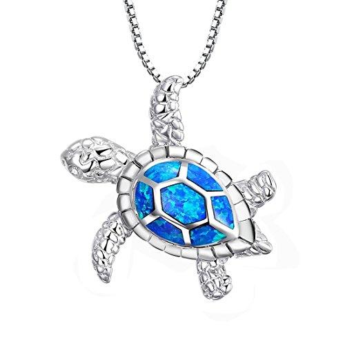 Halskette mit Schildkröte von Tonver, 925er-Sterling Silber, blauer Feueropal, Geschenk zum Muttertag