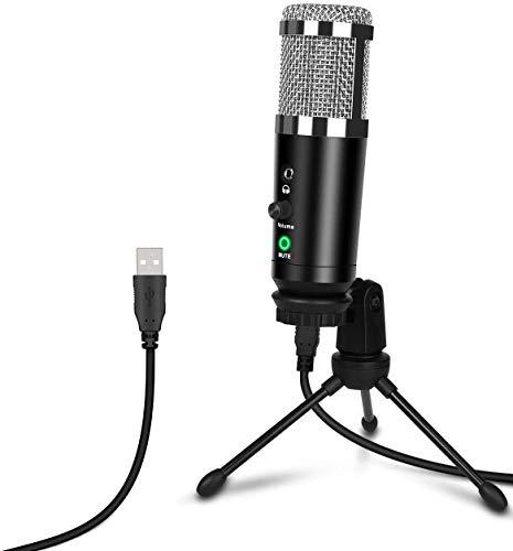 Depusheng Microfono USB Gaming Microfono a condensatore per registrazione su PC con treppiede, jack per cuffie, silenziamento per computer, streaming laptop, podcasting, giochi, Youtube, plug & play