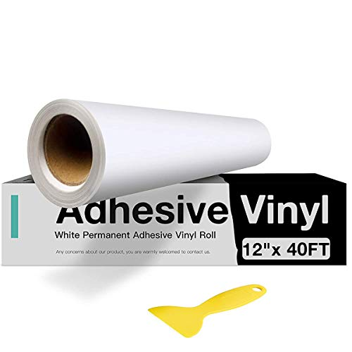"""White Permanent Vinyl, White Adhesive Vinyl for Cricut - 12"""" x 40 FT White Vinyl Roll for Cricut, Silhouette, Cameo Cutters, Signs, Scrapbooking, Craft, Die Cutters"""