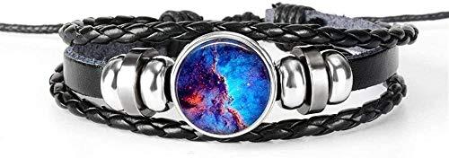 Pulsera Exquisito Sistema Solar Pulsera De La Tierra Nebulosa Galaxia Planeta Cristal Cabujón Pulsera De Cuero Negro Multicapa Hombres Mujeres Joyería De Moda (Color: Veintitrés) 26