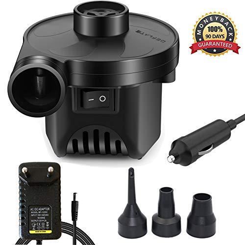 KERUITA Elektrische Pumpe Quick-Fill-Luftpumpe für Inflatables Airbed Pump-Pool-Spielzeug Schwimmerpumpe 220 V AC/DC 12V Schwarz (ACDC)