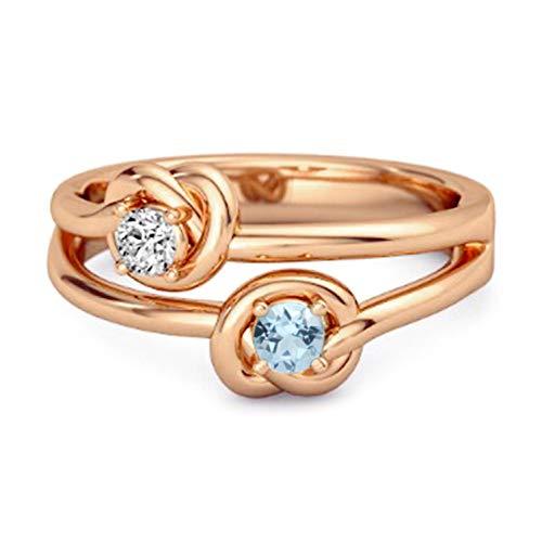 Shine Jewel Multi Elija su Nudo de Amor con Piedras Preciosas 0.10 CTS Anillo de Promesa Chapado en Oro Rosa de Plata de Ley 925 (12, topacio Azul Cielo)