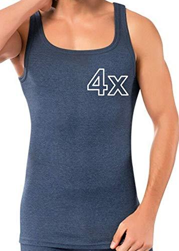 Herren Tank Top (4-Pack) Unterhemd Shirt Baumwolle Achselhemd Feinripp Gr M-XXXL (XL, Blau Feinripp)