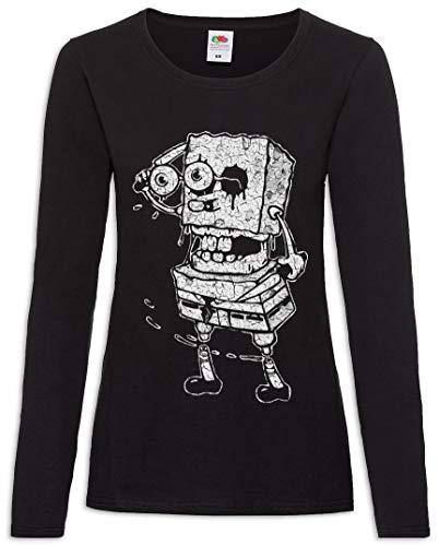 Urban Backwoods Sponge Rob Women Donna T-Shirt A Manica Lunga Nero Taglia M