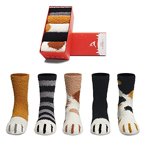 Fuzzy Socks for Women Cute Cat Paw Socks 5 Pairs Women Winter Fluffy...