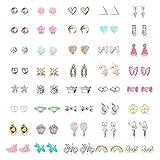 Hanpabum 40Pairs Stainless Steel Stud Earrings for Women Unicorn Candy Little Girls Cute Hypoallergenic Earrings Set