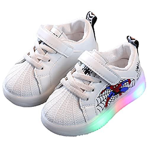 Zapatillas deportivas deportivas para niños y niñas, con LED, transpirables, ligeras, para la escuela al aire libre (tamaño: 23EU, color: negro)