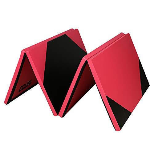 CCLIFE 240x120x5cm,Tappetino Tri-Pieghevole da Ginnastica, Allenamento,Fitness e Yoga, Colore: Nero e Rosso B, Colore:Nero e Rosso B