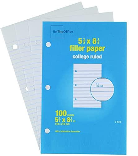 1InTheOffice College Ruled Filler Paper, 5.5 x 8.5 Binder Filler Paper, White, 100 Sheets/Pack