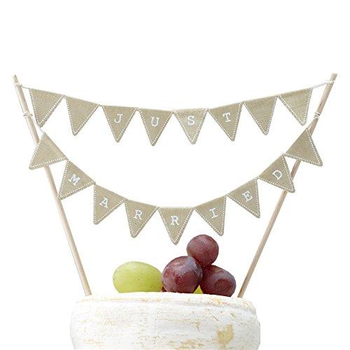 Ginger Ray Vintage Affair Rustikal Just Married Hochzeit Kuchen oder Käse Wimpelkette, braun