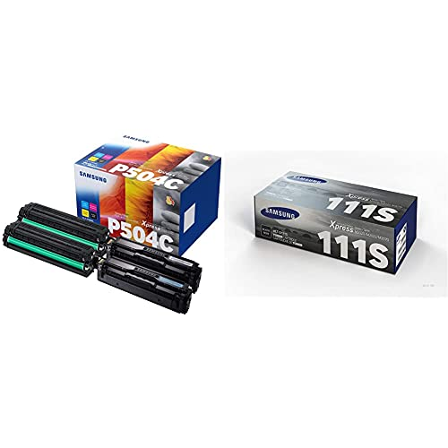 HP TonerSamsung Clt-P504C Toner, 4 Pezzi, Nero/Ciano/Magenta/Giallo & Samsung Mlt-D111S Su810A Cartuccia Toner Originale Standard, 1000 Pagine, Compatibile Con Stampanti Laserjet Monocromatiche