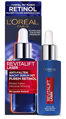 L'Oréal Paris Anti-Falten Nacht Serum mit purem Retinol, Anti-Aging Gesichtsserum, Mit Hyaluronsäure, Revitalift Laser, 30 ml