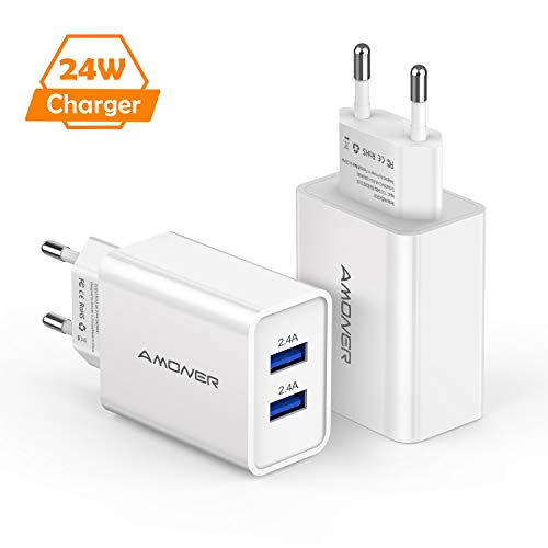 Amoner 24W USB Ladegerät Ladeadapter 2 Stücke 2-Port USB Stecker für iPhone,iPad Pro Air Mini,Samsung Galaxy, LG, Huawei, HTC, Powerbank, MP3 usw. Weiss