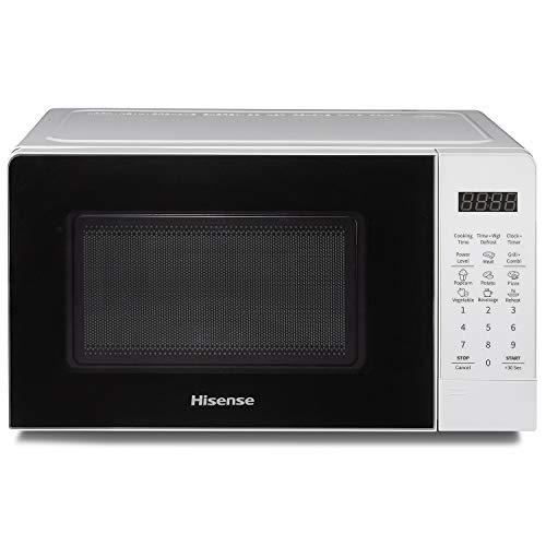 Hisense H20MOWS3G - Horno microondas electrónico, capacidad 20 L, potencia 700 W, grill potencia 900 W, pantalla LED con mandos táctiles, blanco