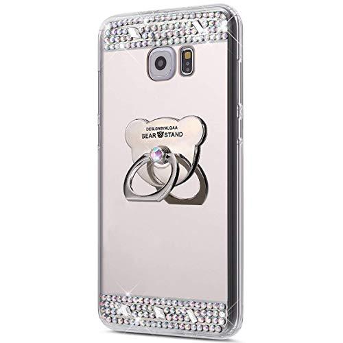 kompatibel mit Galaxy S6 Edge Hülle,Glitzer Strass Schutzhülle Weich Silikon Hülle Strass Diamant Spiegel TPU Silikon Hülle Handyhülle Tasche mit 360 Grad Ring Halter für Galaxy S6 Edge,Silber