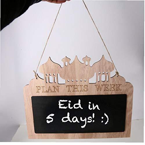 Ramadan Moubarak Ornements en bois Countdown Conseil Pendentifs tenture Calendrier pour Eid Mubarak Décor Style1