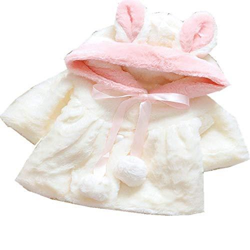 Baby Mädchen Schneebekleidung Winter Kaninchenohren Kapuzenjacke Outerwear Kinder Baumwolle Kleidung Winter Neugeborenes Baby Mantel Daunenparka Gr. 80 cm, Ax907white-c