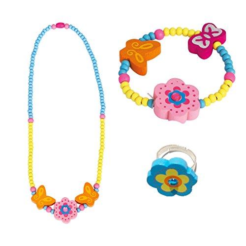 BINO 3 TLG. Set Holzschmuck Mädchenschmuck Kinderschmuck Motiv Blume Rosa - Halskette Armband Ring