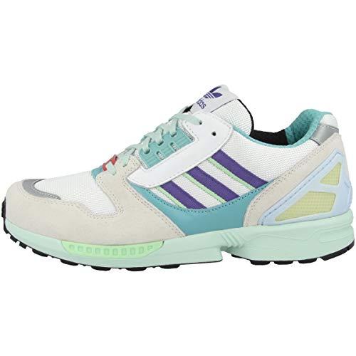 adidas Originals ZX 8000, Footwear White-Purple-Light Aqua, 9