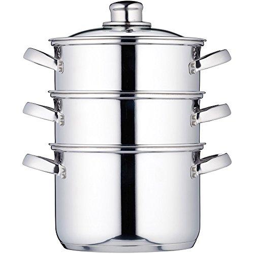KitchenCraft Dampfgarerpfanne/Suppentopf mit 3 Behältern in Geschenkbox, Induktionssicher, Edelstahl, 18 cm