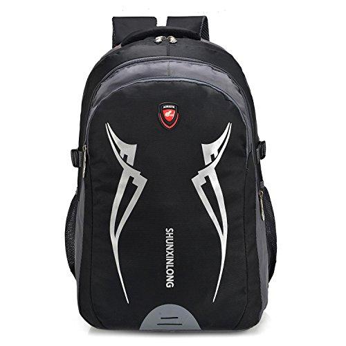 Grande capacité récréation portable alpinisme sac à dos sport escalade voyage randonnée équitation Pack multifonctions étudiants d'affaires double-Shoulder Bag 4colors H52 x W35 x T25 cm , black