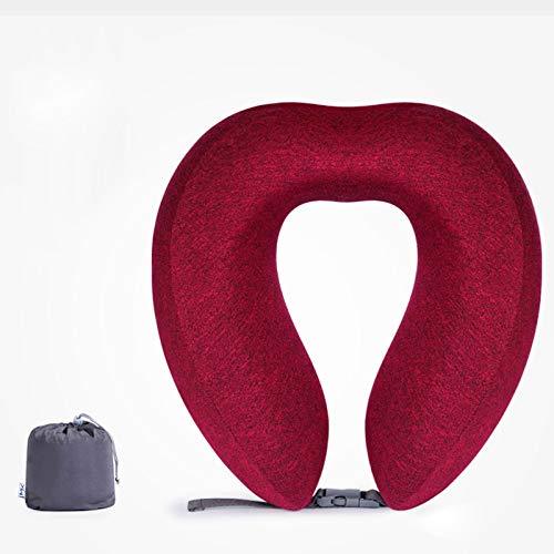 Almohada de Viaje,1 Piezas Almohada de Cuello Cervical Viscoelástica de Espuma de Memoria,Cojín de Viaje para Cuello Soporte Cervical con Bolsa de Transporte para el Uso del Avión y el Hogar