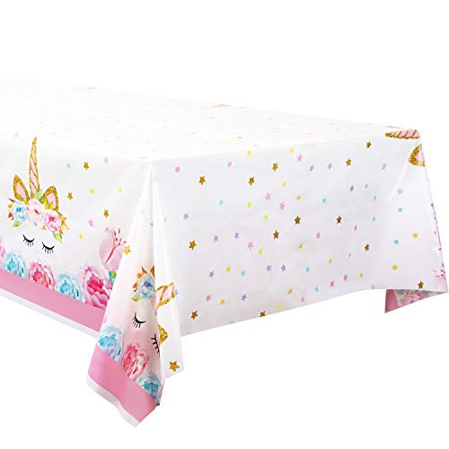 Honoson 5 Pieces Plastic Tablecloth with Unicorn Pattern Disposable Table Cover for Birthday Party Decoration Supplies