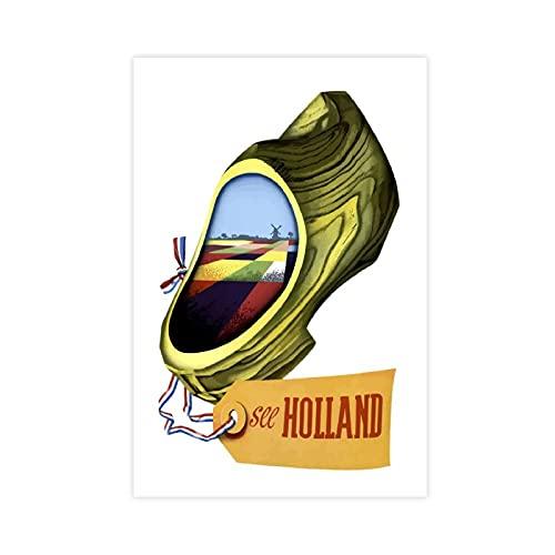 Vintage Travel Holland Clog Retro Shoe Mill Land Farm, póster de lona para pared, sala de estar, dormitorio, decoración de 50 x 75 cm