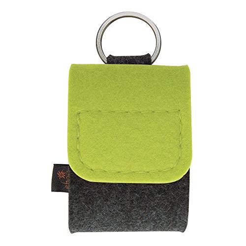 Premium Schlüsselanhänger-Taschenapotheke von ebos | Reiseapotheke aus echtem Wollfilz | 4 Schlaufen für Globuli-Röhrchen, Globuli-Tasche zur Aufbewahrung von homöopathischer Hausapotheke | grün