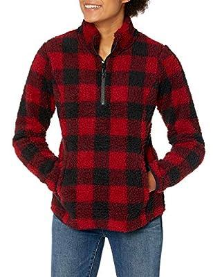 Amazon Essentials Women's Polar Fleece Lined Sherpa Quarter-Zip Jacket, Red Buffalo Plaid, X-Large
