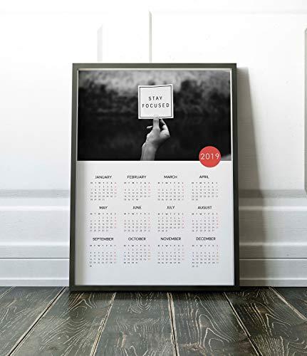 Calendario 2019 de pared 2019, calendario 2019, calendario 2019, vista rápida, calendario de dormitorio, decoración de la habitación
