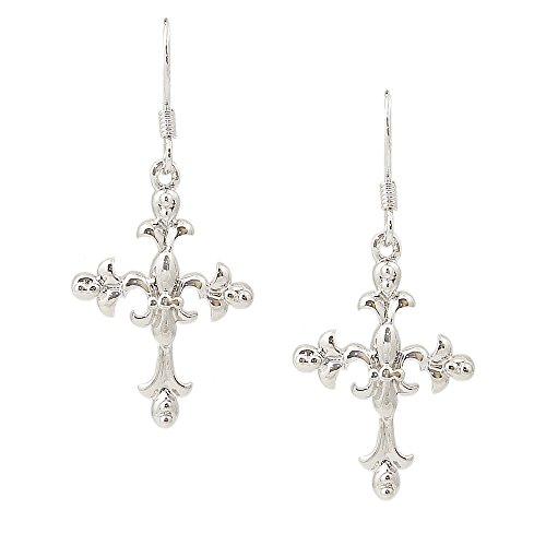 925 Solid Sterling Silver Large Plain Dangling Fleur De Lis Cross Earrings – Dangle Flower Jewelry