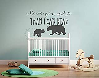 N.SunForest Quote Wall Decal Nursery Wall Sticker Bear Wall Decals I Love You More Than I Can Bear Wall Art Bear Wall Sticker