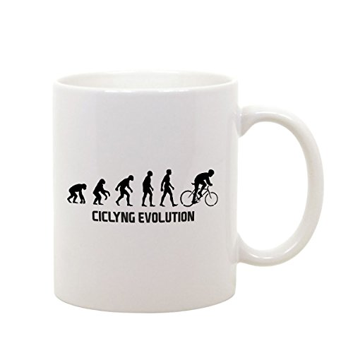 bubbleshirt Tazza Mug in Ceramica Ciclyng Evolution - Sport - Ciclismo - Humor - Idea Regalo