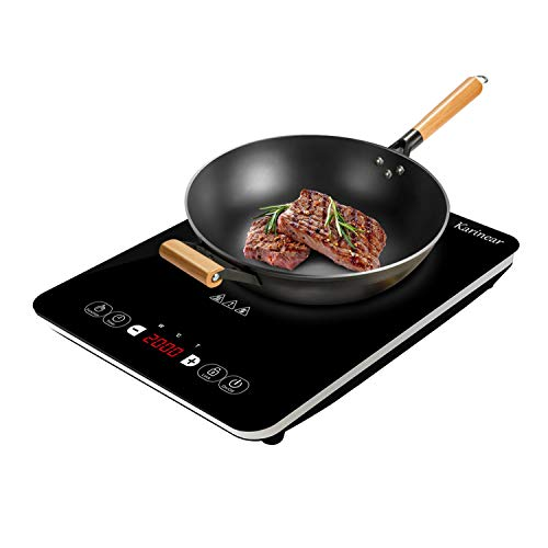 Table de cuisson à induction portable, 2000 W, plaque de cuisson électrique à plaque de cristal noir avec verrouillage pour enfants, capteur tactile, minuterie de 4 heures, Contrôle à 12 niveaux