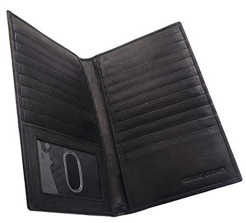 AG Wallets Genuine Leather Mens Long ID 19 Credit Card Security Wallet Black (RFID_Black)