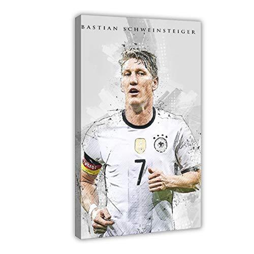 Bastian Schweinsteiger Poster mit Fußball-Star-Figur, Sport-Poster 1 Leinwand, Schlafzimmer-Dekoration, Sport-Landschaft, Büro, Raumdekoration, Geschenk-Rahmen: 60 x 90 cm