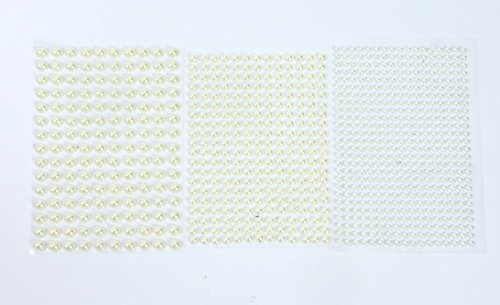 ALL in ONE Mixed Size Pearl Sticker Sheets Self-Adhesive Flat Back Pearl for DIY Craft Scrapbooking Embellishments (White 4+6+8mm)
