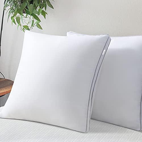LUTE Kopfkissen 80x80 2er Set, Bett Kissen 80x80 mit feinster 2 x 1500g Hohlfaser gefüllt, Pillow weich Aber fest, atmungsaktives Schlafkissen für Hausstauballergiker und viel schwitzer empfohlen