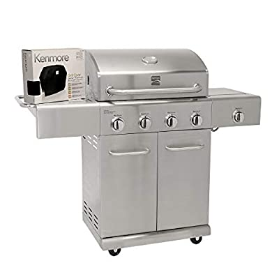 Kenmore PG-40405SALC Stainless Steel 4 Burner Outdoor Patio Gas Propane BBQ Grill with Side Burner Cover Included in , Stainless Steel
