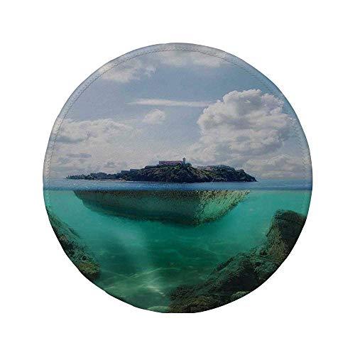 Rutschfreies Gummi-Rundmaus-Pad Ocean Island-Dekor schwimmender Felsen und Leuchtturm in kristallklarem Atlantik-Wassernebel Naturfoto Blau Grau Weiß 7,87 'x 7,87' x 3 mm
