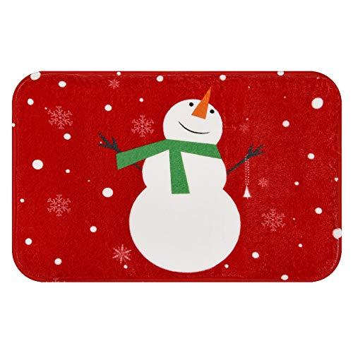 Christmas Area Rug, Snowflake and Snowman Doormat, Xmas Red Indoor Floor Mats for Winter, Soft Flannel Indoor Rug for Bedroom Living Room Kitchen, 18 x 30 inch