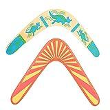 Boomerang,Guador 2 Piezas Boomerang de Madera Superduro Madera en Forma de V de Retorno Boomerang Juego Exterior de Madera para Niños Perfecto Regalo de Cumpleaños Juguetes(Dos Estilos)
