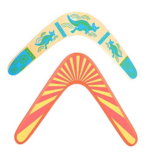 Bumerang aus Holz,Guador 2 stücke V Form Klassische Neue Hölzerner Bumerang Handarbeit gemachter Fliegen-Bumerang Kinder Outdoor Spielzeug für Spielgeräte(Zwei Stile)