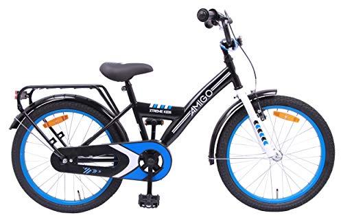 AMIGO Xtreme Kids - Kinderfahrrad für Jungen - 20 Zoll - mit Handbremse, Rücktritt, fahrradständer und Beleuchtung - ab 5-9 Jahre - Schwarz/Blau
