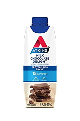 Atkins Ready to Drink Protein-Rich Shake, Milk Chocolate Delight, Gluten Free