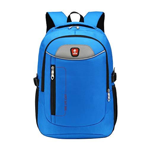 HYSGM Men Women Travel Backpack College Student Business Laptop Shoulder Bag (Blue)